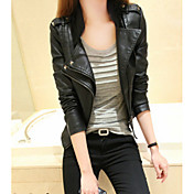 Women's Leather Jacket - Solid Colored Stand