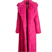 Women's Basic Fur Coat - Solid Colored