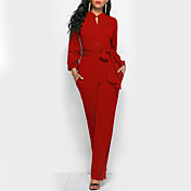 Women's Work Jumpsuit - Solid Colored V N...