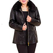 Women's Basic Leather Jacket - Solid Colored