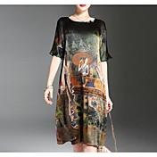 Women's Basic Silk Shift Dress - Geometric