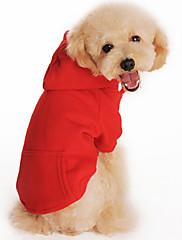 犬 パーカー 犬用ウェア カジュアル/普段着 純色 ブラック オレンジ グレー レッド