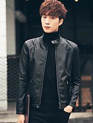 Masculino Jaquetas de Couro Casual Simples Primavera Outono,Sólido Padrão Algodão Colarinho Chinês Manga Longa