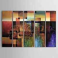 Kézzel festett Absztrakt Vízszintes,Klasszikus Modern Öt elem Vászon Hang festett olajfestmény For lakberendezési