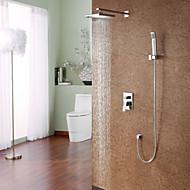 Moderne Système de douche Douche pluie Douchette inclue with  Soupape céramique Mitigeur quatre trous for  Chrome , Robinet de douche