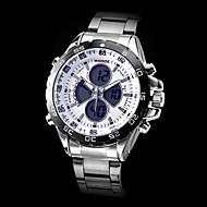 WEIDE Pánské Náramkové hodinky Křemenný Japonské Quartz LCD Kalendář Chronograf Voděodolné Hodinky s dvojitým časem poplach Nerez Kapela