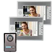 Vídeo de 7 polegadas porta porta do telefone intercomunicador kit 1 camera visão nocturna de 2 monitores