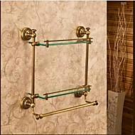Hylle til badeværelset Antikk bronse Veggmontert 40*12*40cm(15.74*4.72*15.74 tommer) Messing / Glass Antikk