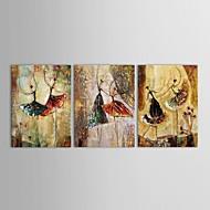 Hånd-malede Mennesker Tre Paneler Canvas Hang-Painted Oliemaleri For Hjem Dekoration