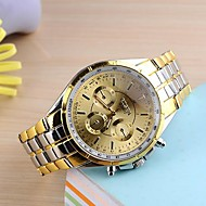 Pánské Náramkové hodinky Křemenný Nerez Kapela Zlatá Černá Zlatá