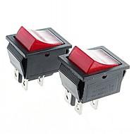 4-polige tuimelschakelaar tuimelschakelaars met rode indicatielampje (2 stuks)