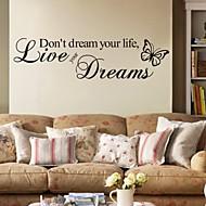 Sanat ja lainaukset Wall Tarrat Lentokone-seinätarrat Koriste-seinätarrat,PVC materiaali Irroitettava Kodinsisustus Seinätarra