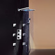 """Kortárs Fali Zuhany """"eső""""szórófej Kézi zuhanyzót tartalmaz Széleskörű Termosztatikus LED with  Réz szelep Három fogantyúk kilenc lyukfor"""