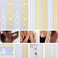 17 - 23.5*11*1CM - Χρυσό/Μαύρο/Ασημί - Jewlery Σειρά Κοσμημάτων - Αυτοκόλλητα Τατουάζ - Μοτίβο/Hawaiian/Waterproof - από Χαρτί για
