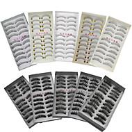 10 Cílios Tiras Completas de Cílios Cruzado Grossa Comprimento Natural Half Handmade Microfibra Banda Preta