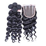 4kpl / erä 10 '' - 30 '' perun neitsyt hiukset löysä aalto hiukset sulkeminen kuteet Perun löysä aalto hiukset niput