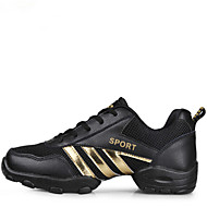 Men's Dance Shoes Sneakers Leather Low Heel Black and Gold/ Black and Grey