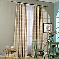 Two Panel Country Jacquard Tripes Cotton Energy Saving Curtains Drapes
