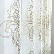 Dvije zavjese Prozor Liječenje Zemlja Moderna Neoclassical , Jednobojni Bedroom Mješavina poliester/lan Materijal Sheer Zavjese Shades