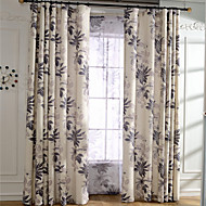 Linen Leaf Printing Curtain Two Panel Curtains Drapes
