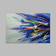 Ready to hang Stretched Hand-Painted Oil Painting on Canvas Wall Art Abstract Contempory Blue Green One Panel