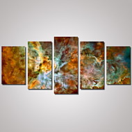 Maisema Abstraktit maisemakuvat Kartat Perinteinen,5 paneeli Horizontal Painettu Wall Decor For Kodinsisustus