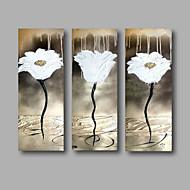 Hånd-malede Abstrakt / Blomstret/BotaniskModerne Tre Paneler Canvas Hang-Painted Oliemaleri For Hjem Dekoration