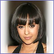 Mulher Perucas de cabelo capless do cabelo humano Preto # 33 Curto Liso Corte Bob Com Franjas
