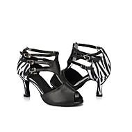 Sapatos de Dança (Preto / Multicolorido / Leopardo) - Feminino - Personalizável - Latina / Salsa / Samba