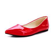 Feminino Sapatos Couro Envernizado Primavera Verão Outono Inverno Rasteiro Para Casual Social Amarelo Vermelho Verde Amêndoa Azul Real