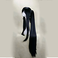 Mulher Perucas sintéticas Sem Touca Longo Liso Preto Com rabo de cavalo Com Franjas Peruca de Halloween Peruca de carnaval Perucas para