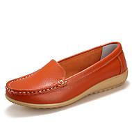 Feminino Sapatos Couro Primavera Verão Outono Inverno Conforto Rasteiro Para Casual Branco Preto Laranja