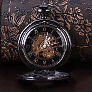 Bărbați Ceas de buzunar ceas mecanic Mecanism automat Gravură scobită Aliaj Bandă Luxos Negru