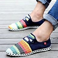Férfi cipő Vászon Tavasz Nyár Ősz Kényelmes Papucsok & Balerinacipők Fűző Kompatibilitás Hétköznapi Haditengerészet Világoskék Sötétzöld