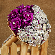 Bryllupsblomster Rund Roser Buketter Bryllup Sateng Silke Rhinstein Metall 9.06 tommer (ca. 23cm)