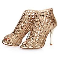 נעלי נשים-סנדלים-בד-עקבים / נעלים עם פתח קדמי / פתוח-שחור / לבן / זהב-שמלה / קז'ואל / מסיבה וערב-עקב סטילטו