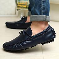 남성 보트 신발 컴포트 가죽 캐쥬얼 워킹화 컴포트 낮은 굽 블랙 다크 블루 브라운