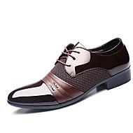Oxfords Træsko & Tøfler-PU-Formelle sko-Herrer-Sort Lysebrun-Bryllup Udendørs Kontor Fritid Fest/aften-Flad hæl