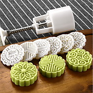 Circle Moon Cake Mold with 6 Stamps Cookie Cake Tools Mooncake Mold 50g