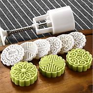 Sirkelmånekakeform med 6 frimerker kakekakeverktøy mooncake mold 50g