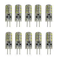 1W 80-120LM Dimmable Silicone G4 Led  Bulb Crystal Lamp 12V DC 24 SMD 3014 White/Warm White (10 pcss)