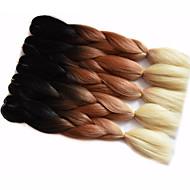 """Jumbo laatikko punokset Ombre hiukset hiukset Kanekalon Burgundi Valkoinen Sininen Vihreä Keltainen Hiuspidennykset 24 """" punokset"""