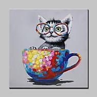 Håndmalte Dyr / Pop olje malerier,Moderne Et Panel Lerret Hang malte oljemaleri For Hjem Dekor