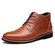 Herre-Lær Pels-Lav hæl-Komfort-Støvler-Friluft Fritid-Svart Brun
