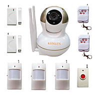 wifi innbruddstyv hjemme alarm ip kamera sikkerhetssystem for huset anti tyv videoovervåkning med trådløse ALARME detektorer