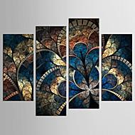 Abstrakti Kukkakuvio/Kasvitiede Classic European Style,4 paneeli Kanvas Mikä tahansa muoto Tulosta Art Wall Decor For Kodinsisustus