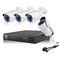 960p 포 보안 시스템 4pcs 1.3mp 네트워크 IP 카메라 및 4ch 1080p cctv nvr 지원 onvif