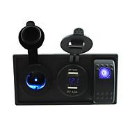 DC 12V / 24V LED 4.2a Dual USB Ladegerät Stromvoltmeters Steckdose mit Kippschalter Prüfkabeln und Gehäusehalter