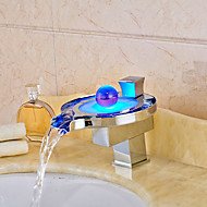 High Quality Chrome Brass Personalized Single Handle RGB LED Bathroom Sink Faucet - Silver