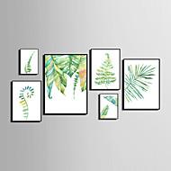 Abstract Bloemenmotief/Botanisch Dier Ingelijst canvas Ingelijste set Muurkunst,PVC Materiaal Zwart Zonder passepartout Met frame For